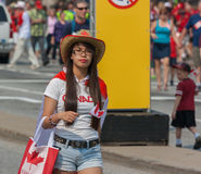 Asian Girl on Street during Canada Day Stock Image