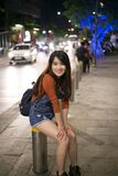 Asian girl in street portrait Royalty Free Stock Image
