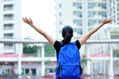 Asian girl student in campus. Asian girl student open arms in campus Stock Photos