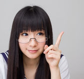 Asian girl student in school uniform Royalty Free Stock Image