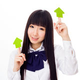 Asian girl student in school uniform arrows with face Stock Image
