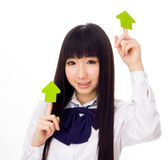 Asian girl student in school uniform arrows Royalty Free Stock Photos