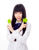 Asian girl student in school uniform arrows with face Stock Photo