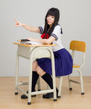 Asian girl student in school uniform click Royalty Free Stock Image