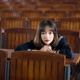 Asian girl student in school uniform Learning in the classroom. Is asian girl student in school uniform Stock Images