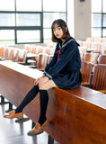 Asian girl student in school uniform Learning in the classroom. Is asian girl student in school uniform Royalty Free Stock Photos