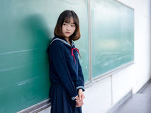 Asian girl student in school uniform Learning in the classroom. Is asian girl student in school uniform Stock Image