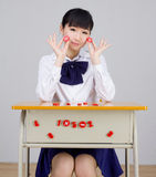 Asian girl student in school uniform math Stock Photography