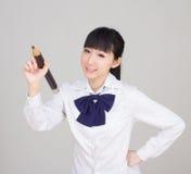 Asian girl student in school uniform Royalty Free Stock Photos