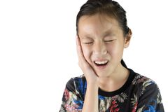 Asian girl suffering from toothache dental problem Stock Images