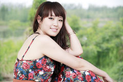 Asian girl in summer Stock Images