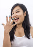 Happy asian girl surprised Royalty Free Stock Images