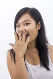 Happy asian girl surprised Stock Photography