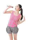Asian girl take a microphone Royalty Free Stock Photo
