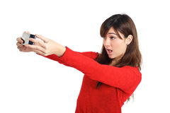 Asian girl taking a selfie with her phone Royalty Free Stock Photos