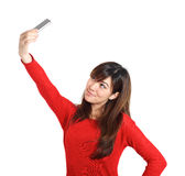Asian girl taking a selfie with her phone Royalty Free Stock Photo