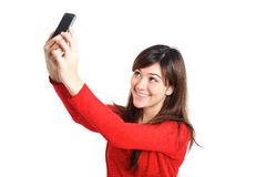 Asian girl taking a selfie with her phone Royalty Free Stock Photography