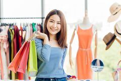 Free Asian Girl Teen With Many Shopping Bag. Enjoy Happy In Sale Shop Day Stock Images - 171781824