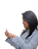 Asian girl texting Stock Photo