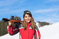 Asian Girl Tourist Snowboard Ski Resort Snow Winter Mountain Happy Smiling Woman On Holiday Stock Images