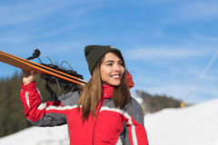 Asian Girl Tourist Snowboard Ski Resort Snow Winter Mountain Happy Smiling Woman On Holiday Stock Photo