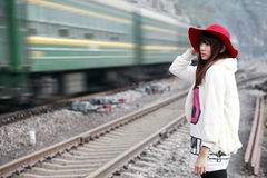 Asian girl and train stock images