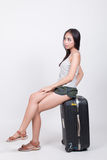 Asian girl in travel concept Stock Photo