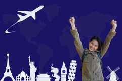Asian Girl with Traveling Plan Royalty Free Stock Photos