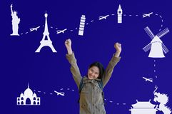 Asian Girl with Traveling Route Stock Photo
