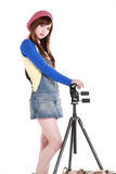 An Asian girl with the tripod Stock Photos