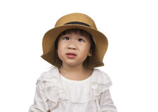 Asian girl two years old wearing a hat. Stock Photo