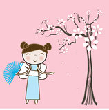 Asian girl under spring floral tree. Stock Images