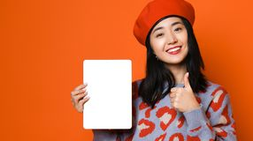Asian girl use pad , concept of technology, working, internet etc. stock images
