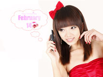 Asian girl in Valentine Royalty Free Stock Photo