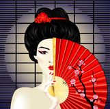 Asian girl. A vector illustration of a geisha with a fan Royalty Free Stock Photos