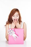 Asian girl very happy with a gift box Royalty Free Stock Photography