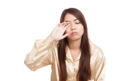 Asian girl  wake up  sleepy and drowsy. Isolated on white background Stock Photo
