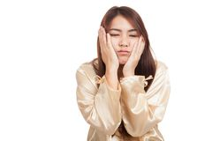 Asian girl  wake up  sleepy and drowsy Royalty Free Stock Images
