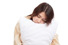 Asian girl  wake up  sleepy and drowsy with pillow Royalty Free Stock Photo