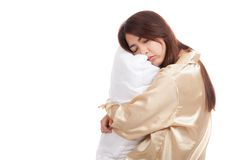 Asian girl  wake up  sleepy and drowsy with pillow Stock Photos