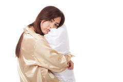 Asian girl  wake up  sleepy and drowsy with pillow. Isolated on white background Stock Images