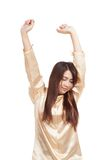 Asian girl wake up and stretching. Isolated on white background royalty free stock images