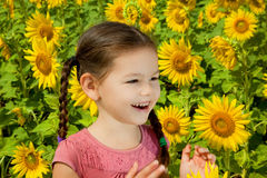 Asian girl walks in a field of sunflowers Stock Photography