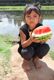 Asian girl with water melon Stock Photo