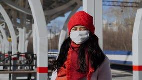 Asian girl wear protective face mask, coronavirus epidemic prevention.