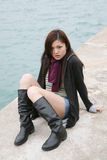 Asian girl wearing boots Royalty Free Stock Image