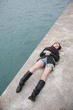 Asian girl wearing boots Royalty Free Stock Photography