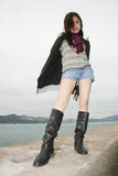 Asian Girl Wearing Boots Royalty Free Stock Photo