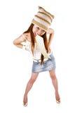 Asian girl wearing cap Royalty Free Stock Image