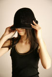 Asian girl wearing hat Royalty Free Stock Image